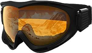 Tough 户外滑雪和滑雪护目镜 - 滑雪、滑板滑雪、摩托车和冬季运动 - 防雾和头盔兼容 - UV400 保护 - 适合男士、女士和青少年