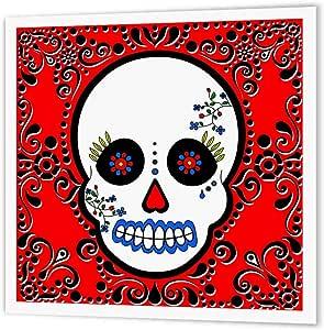 3dRose ht_28866_3 亡灵节骷髅糖糖糖骷髅红色黑色滚动热烫转印适用于白色材料,25.4 x 25.4 cm