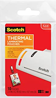 Scotch Thermal Laminating Pouches ID Badge With Clip, 2.4 Inches x 4.2 Inches, 10 Pouches (TP5852-10)