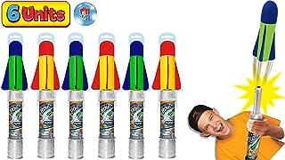 JA-RU 大号儿童火箭发射器玩具套装 Air Max 空气泵(1 个组合颜色)手拍火箭玩具适合儿童和成人。 非常适合户外游戏派对。 673-1A 6 Units Air Max Pump Rocket