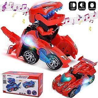 GRACEON 变形玩具,恐龙汽车组合为一体,自动变形,恐龙LED汽车,灯 2-8 岁男孩女孩幼儿儿童礼品(颜色随机)