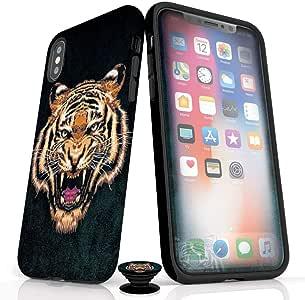 手机配件包 - 屏幕保护膜,哑光 iPhone 手机壳和手机抓握带 Fierce Tiger 设计IPXRBA080M IPhone XR Fierce Tiger (Matte Finish)