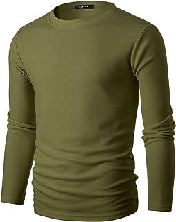 GIVON 男式修身长袖柔软混纺宽罗纹圆领套头衫毕业颜色毛衣