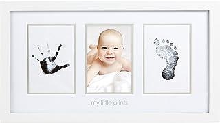 """Pearhead 婴儿手足印相框,含""""清洁触摸""""墨垫,白色"""