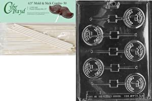 Cybrtrayd 45St50-B039 Baby's 1st Birthday Lolly Baby Chocolate Candy Mold with 50-Pack 4.5-Inch Lollipop Sticks
