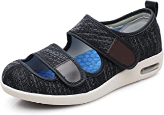 Goodant 女式凉鞋适用于** Edema bunions *脚部舒适网眼老年步行鞋宽可调拖鞋