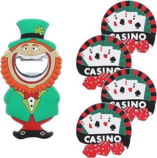 Leprachaun 啤*开瓶器 爱尔兰圣帕特里克新颖开瓶器 & 4 个扑克杯垫 Leprachaun/Casino 均码 5STKT0011Q2
