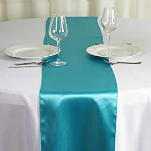 SRVM_10 片装婚礼 30.48 x 274.32 厘米缎桌布,专为婚礼派对活动、宴会家居厨房装饰 - Turquiose GOLDSILVER_COVERUPS