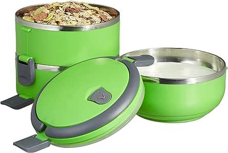 Relaxdays 午餐盒,3个隔层,不锈钢材质,顶部午餐盒防漏,圆形,适用于小吃等 * 10023881_53