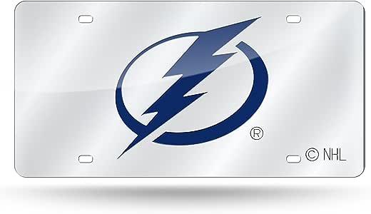 NHL 激光镶嵌金属车牌标签,银色 坦帕湾闪电