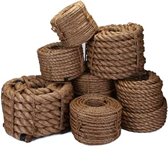 RAVENOX 天然马尼拉绳绳 | 高级扭绳 适用于登山、景观、装饰、战争拉伸或通用 | 每直径 10 英尺至 1200 英尺的预切长度 天然 1.25 Inch x 10 Feet FMS-Manila-1.25-10