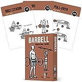 NewMe 健身杠铃锻炼卡包含 50 张杠铃练习 - 全身锻炼 - 非常适合家庭锻炼 - 您的个人训练师 - 大型耐用防水 8.89 厘米 x 12.7 厘米卡片
