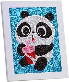 VVEEWUU Easy 5D 钻石绘画套装带框架,适合儿童全钻画,数字套件,适合儿童礼品(熊猫)