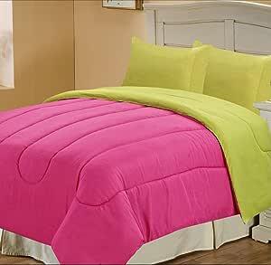 Chic Home 纯色双面被子,中号双人床 Pink/Yellow Queen RevSolidPink/YellowQN