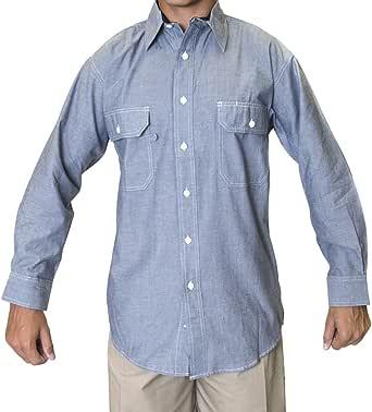 Ws 蓝色领出口男式条纹长袖衬衫,两个前口袋斜襟