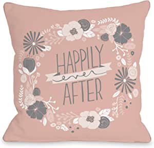 Bentin Home Decor Happily Ever After Throw 枕头 w/拉链 Loni Harris Happily Ever After - Blush Rose Gray 16x16 Pillow With Zipper 13278PL16Z