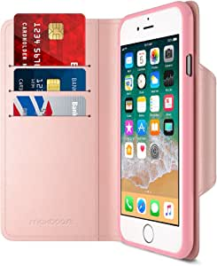 Maxboost iPhone 8 钱包式手机壳 [对开式] [支架功能] mWallet 系列 Apple iPhone 8 (2017)/iPhone 7 (2016) 保护信用卡皮质保护套 [卡槽+侧袋] 磁封 玫瑰金