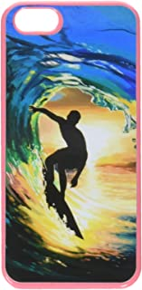 Graphics and more surfer - 冲浪海浪日落卡入式硬质保护壳适用于 Apple iPhone 5/5s - 非零售包装 - 粉色