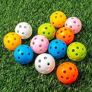 THIODOON 练习高尔夫球 限量飞行高尔夫球 40mm空心塑料高尔夫训练球 彩色气流高尔夫球 挥杆练习 驾驶范围 家庭用 室内 12只装