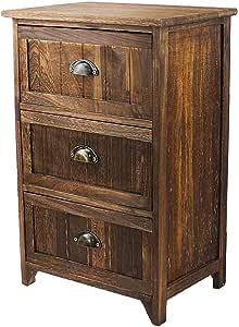 JERRY & MAGGIE–nightstand 经典乡村风格深棕色木–NIGHT stand 存储床边桌带多种颜色抽屉自然色 Ancient 木质纹理