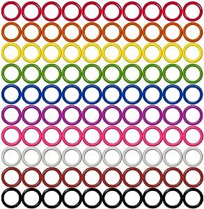 彩色铁 O 型环和针脚戒指标记,适用于针织/钩针等(有 14 种尺寸可选,含 10 种颜色,适用于针织/钩针等 100 件 Medium (Internal diameter 12mm) HARD Stitch Ring Markers-6MM-24MM