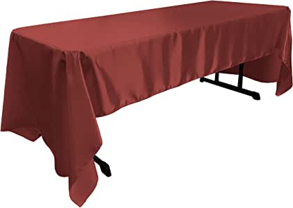 LA Linen 新娘缎矩形桌布 *红色 60 by 126-Inch TCbridal60X126BurgundyB17