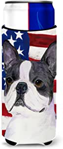 USA American Flag with Boston Terrier Michelob Ultra Koozies for slim cans SS4021MUK 多色 Slim