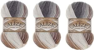 Alize Angora Gold Batik 纱线 20% 羊毛 80% 腈纶一套 3skn 300gr 180 码钩针编织蕾丝手工编织土耳其纱线 5742 gold batik angora