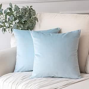 "Phantoscope 2 件装天鹅绒装饰抱枕套柔软实心方形沙发靠垫套 浅蓝色 22"" x 22"""