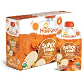 Happy Tot Organic Stage 4 Super Foods Apples Sweet Potatoes Carrots & Cinnamon + Super Chia, 4.22 Ounce Pouch (Pack of 16) (Packaging May Vary)