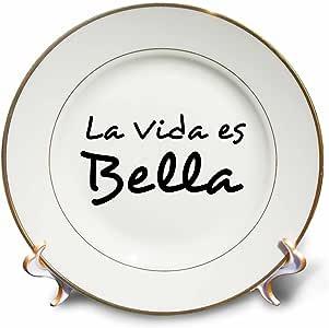 "cp_185026 InspirationzStore 排版 - La Vida es Bella - Life is Beautiful in Spanish - 黑色和白色文字 - 盘子 黑色 8"" cp_185026_1"