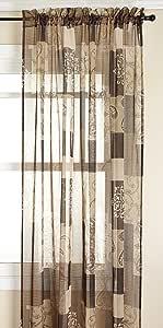 Renaissance Home Fashion Jasmine Tile Print Sheer Rod Pocket Panel, Mocha 56 by 63-Inch