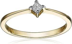 14K 金 princess-cut 钻石定情戒指(总重量0.07克拉, I-J 颜色, I1-I2净度)  黄色