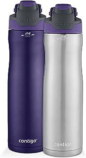 Contigo 康迪克 AUTOSEAL 保冷不锈钢水瓶,24盎司(710毫升),不锈钢/葡萄藤色 & 纯葡萄藤色,2件装