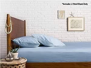 Mayfair Linen * 埃及长绒棉缎织物 600 支特大号床笠四周带有弹性 - 适合高达 45.72 cm 的床垫 浅蓝色 1 Fitted Sheet - Twin XL CO-FS-600TC-TWINXL-LIGHTBLUE