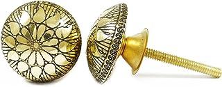 金黄铜旋钮橱柜把手抽屉拉式独特橱柜把手印度 2 件 金色 1.5 CDN1229