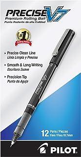 PILOT Precise V7 细头液体墨水滚动圆珠笔,黑色墨水,12支(35346)