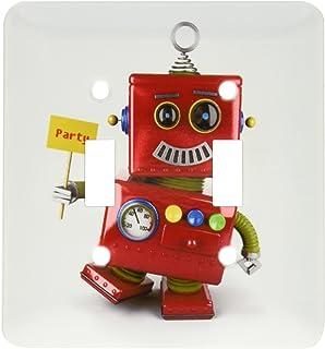 3dRose lsp_158013_2 欢乐复古玩具机器人带着派对标志,同时跳舞可爱趣味庆祝双拨动开关