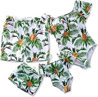 家庭情侣泳衣连体泳衣高腰露肩菠萝印花妈妈和我比基尼套装