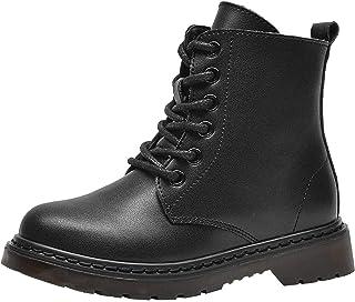 PPXID 男孩女孩皮革登山靴系带和侧拉链短款战斗靴雪地靴