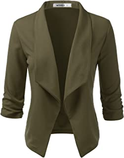NINEXIS 女士休闲工作七分袖前开西装外套,加大码