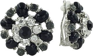 水钻与宝石花朵夹正式花式耳环