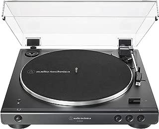Audio Technica 铁三角 AT-LP60XBT-BK全自动蓝牙皮带驱动立体声唱盘,黑色,高保真,可播放33 -1/3和45 RPM黑胶唱片,防尘罩,抗共振,压铸铝盘