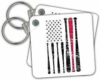 3dRose Carsten Reisinger - 插图 - 美国国旗棒球棒美国爱国者 - 钥匙链