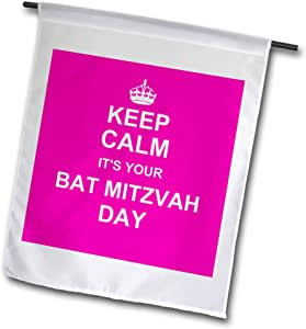 inspirationzstore occasions–KEEP CALM ITS YOUR 蝙蝠 mitzvah DAY–桃红色文字–犹太女孩12岁生日鼓励–旗帜 12 x 18 inch Garden Flag