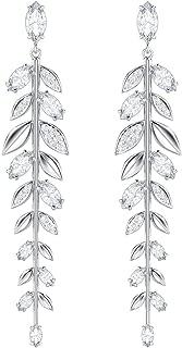 施华洛世奇水晶正品 Mayfly 穿孔耳环,长,白色,镀铑 - 高档宝石镶嵌花式珠宝和优雅时尚配饰 - 女式婚礼和鸡尾酒首饰