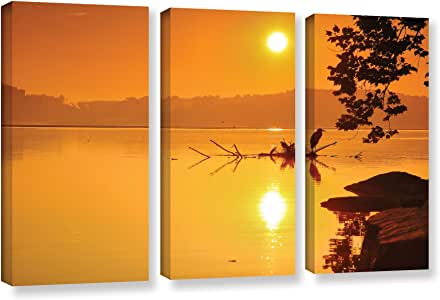 """ArtWall 0ain053c2436w 3 Piece """"Steve Ainsworth's Hatteras Pools and Bridge"""" Gallery Wrapped Canvas Artwork, 24"""" x 36"""""""