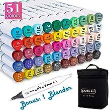 Shuttle Art 50 色雙頭藝術記號筆,永久記號筆亮光筆帶盒,完美用于插圖成人繪畫素描和制作卡片