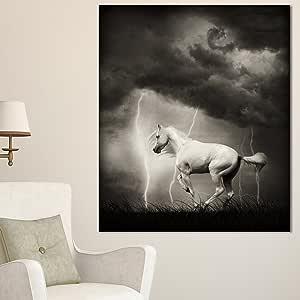 """Designart - 雷霆式天空下的白马 - 超大动物金属墙壁艺术 White/Sky 12x28"""" MT13465-12-28"""