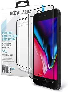 BodyGuardz - 纯 2 边玻璃屏幕保护膜,适用于 Apple iPhone 6、6s、7、8 边到边玻璃屏幕保护,适用于 Apple iPhone 6、6s、7、8 - 保护套友好BodyGuardz iPhone 8 Pure 2 Edge (Black Edge)
